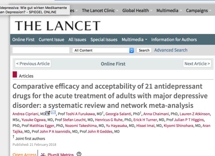 Metaanalyse zur Wirkung von Antidepressiva